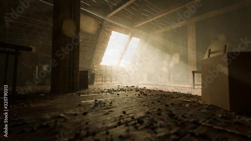 Photo alter Dachboden oder Speicher mit Kisten und Licht