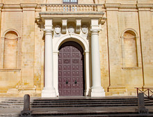The Grand Doorway To The Cathedral In Valletta, Malta