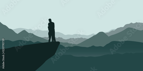 young couple on a cliff enjoy the mountain view vector illustration EPS10 Canvas Print
