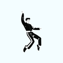 Silhouette Of A Man Jumping. T...