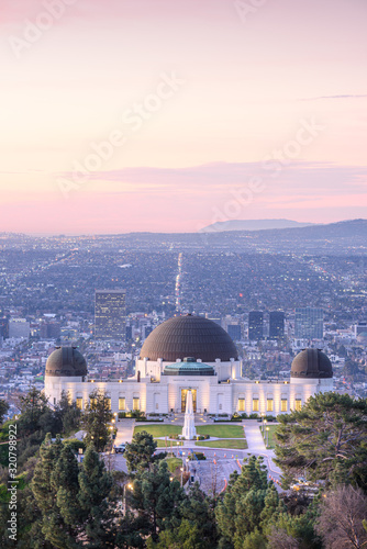 Griffith Observatory and Los Angeles at sunrise; Canvas Print