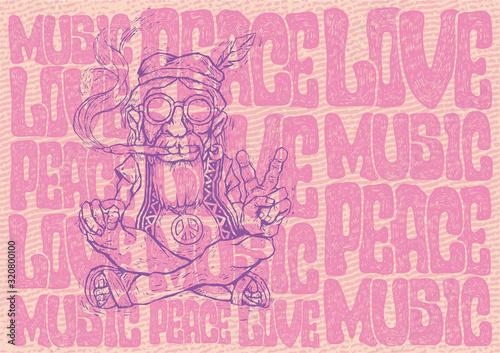 Photo Old hippie smokes marijuana and shows the peace symbol