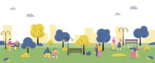 City Park With Cartoon Couples...