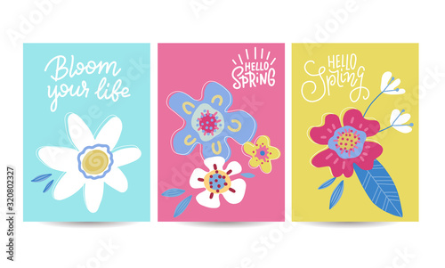 Obraz Hello spring seasonal banners set. Artistic drawing posters collection with abstract flowers and plants. Floral decorated line art banners selection. Flat hand drawn vector illustration - fototapety do salonu