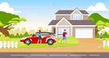 Couple washing hatchback flat color vector illustration. Happy couple and child 2D cartoon characters with country house on background. People cleaning family car together outdoors