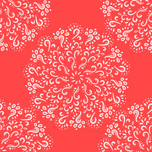 Ethnic Seamless Pattern With Mandala. Abstract Oriental Mandala Background. Vintage Rapport For Wallpaper, Textile, Fabric And Paper. Red White . Hand Drawing Circle
