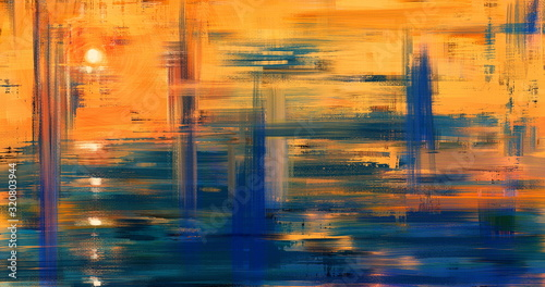 Abstract art landscape painting, background illustration. Sunset artwork on canvas in 4K size. Oil painted fine art. Yellow hand drawn wall art with water reflection