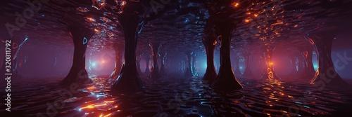Papel de parede Sci Fi Futuristic Fantasy Strange Alien Structure, 3D rendering