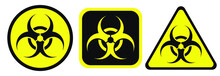 Biohazard Warning Black And Yellow Signs In Circle, Square And Triangle Shape. A Biological Hazard Vector Symbol Isolated On White Background.