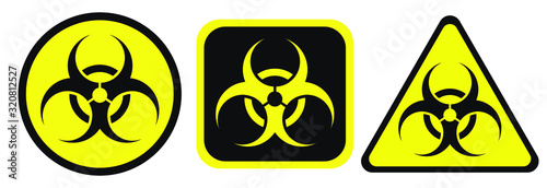 Foto Biohazard warning black and yellow signs in circle, square and triangle shape