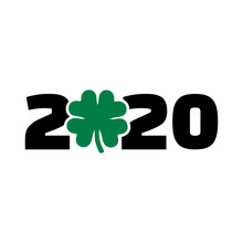 Year 2020 With Green Shamrock