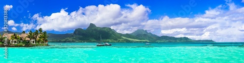 Amazing tropical island scenery. Beautiful Mauritius. View of Lion mountains ...