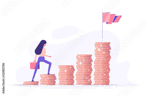 Vászonkép Business woman is climbing stairs from stacks of coins  toward his financial goal