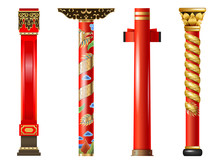 Set Of Red Oriental Columns Of Chinese And Japanese