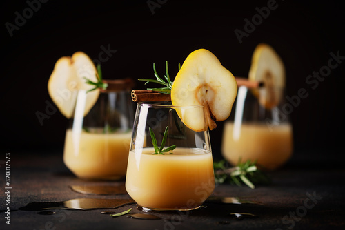 Healthy soft drink with pears Canvas Print