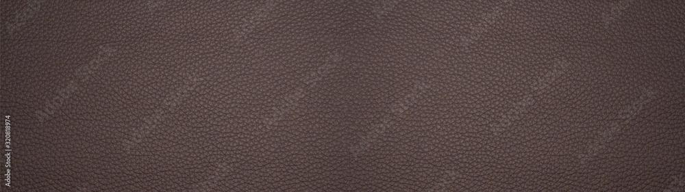 Fototapeta Dark brown chocolate rustic leather texture - Background banner panorama long