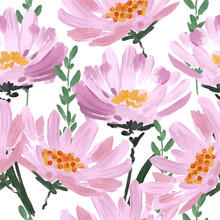 Big Pink Blooming Hand Drawn Art Brushed Stroke Garden Flowers Seamless Pattern Vector EPS10 ,Design For Fashion,fabric,web,wallpaper,wrapping,and All Prints
