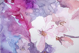 Closeup view of beautiful floral watercolor painting - 320825345