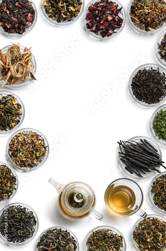 Large assortment of tea on a white background Wallpaper Mural