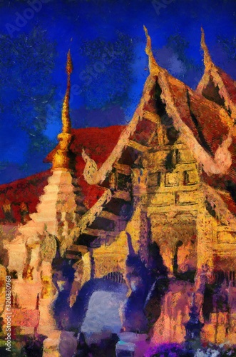 Fototapety, obrazy: Ancient temples, art and architecture in the northern Thai style Illustrations creates an impressionist style of painting.