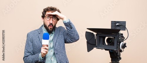 television presenter looking bewildered and astonished, with hand over forehead Wallpaper Mural