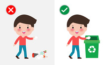 Do Not Throw Littering Butts On The Floor,wrong And Right, Male Character That Tells You The Correct Behavior To Recycle.vector Illustration