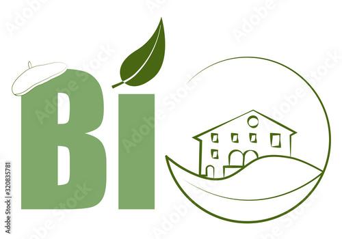 Logo de Bio con un caserío del país vasco y una boina. Canvas Print