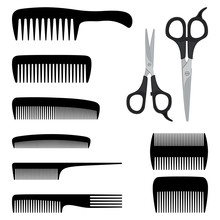 Collection Of Combs And Scisso...