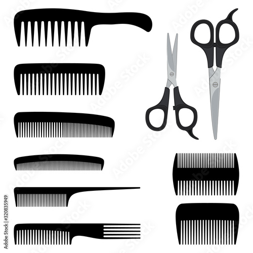 Collection of combs and scissors for hairdressing Tableau sur Toile
