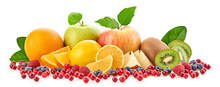 Fresh Fruits Healthy Diet Concept. Raw Mixed Vegan Juicy Food Background, Green Apple, Orange Isolated On White. Variety Of Citrus Fruit Berries, Health Clean Eating