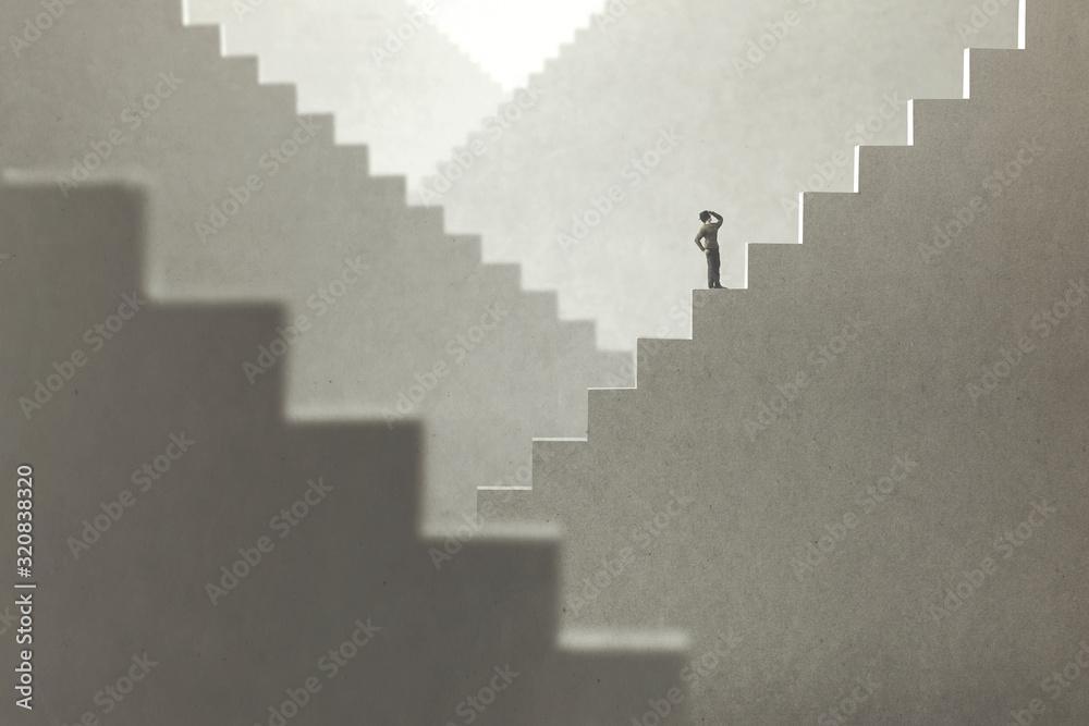 Fototapeta surreal concept of a man rising stairs to try to reach the top