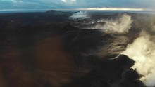 Lens Flare And Fissure Eight Steaming In Early Morning Aerial Shot