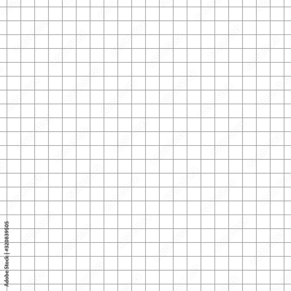 Fototapeta Simple grid paper. Blank sheet in cells. Squared grating on white background. Vector seamless pattern. Graph paper. Geometric checkered texture for school education. Square grid for design prints