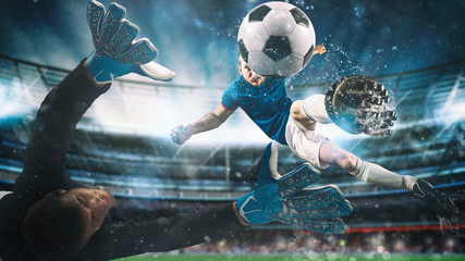 Panel Szklany Podświetlane Piłka nożna Soccer striker hits the ball with an acrobatic kick in the air at the stadium at night match