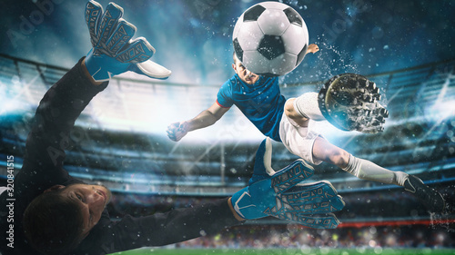 Soccer striker hits the ball with an acrobatic kick in the air at the stadium at Canvas Print