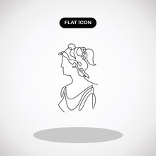 Young Woman Artemis- Continuous Line Drawing.Simple Logo Vector Illustration For Graphic And Web Design.