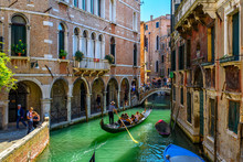 Narrow Canal With Gondola And ...