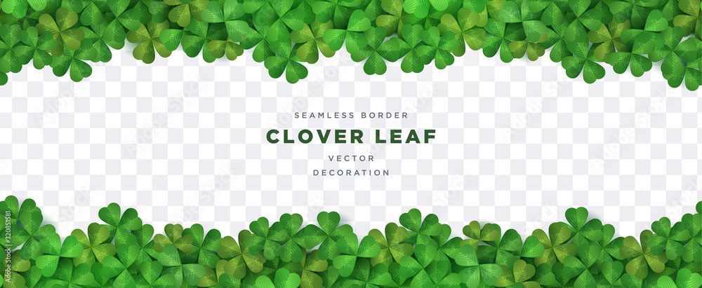 Fototapeta Clover shamrock leaf seamless border on transparent background vector decorative elements template
