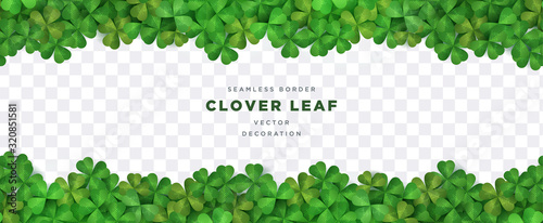 Fototapeta Clover shamrock leaf seamless border on transparent background vector decorative elements template obraz