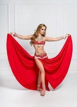 Middle Eastern Belly Dance. Ethnic  Eastern Dancer In National Dress.