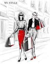 Hand Drawn Beautiful Two Young Women With Shopping Bags. Fashion Woman In Red Skirt. Women On Street Background. Black And White Sketch. Fashion Illustration.