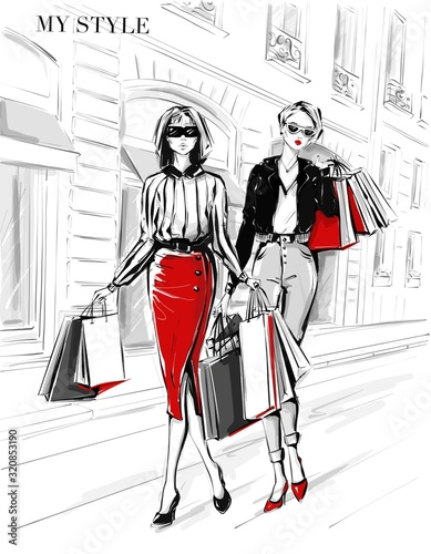 Fototapety One Color   hand-drawn-beautiful-two-young-women-with-shopping-bags-fashion-woman-in-red-skirt-women-on-street-background-black-and-white-sketch-fashion-illustration