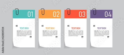 Photo Text box design with note papers.
