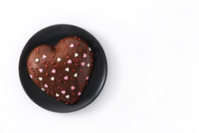 Heart Shaped Cake For Valentine's Day Or Mother's Day Isolated On White Background Copy Space