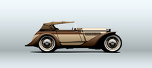 Vintage Car In Vector.
