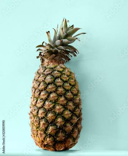 Fototapety, obrazy: fresh pineapple on blue background