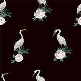Seamless pattern with white herons. - 320861348