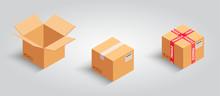 Set Of Cardboard Boxes. Realis...