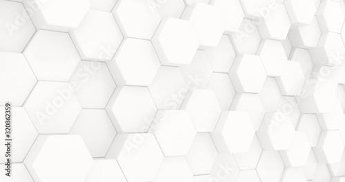 Fototapety, obrazy: Hexagons in the form of honeycombs for presentations, website design. Abstract geometric unobtrusive background - 3d render. Illustration for technology, medecine, advertising.