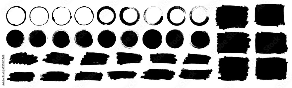 Fototapeta Paint brushes strokes mega set. Vector illustration